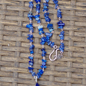 Lapis Lazuli Necklace ~ Chakra Pendant ~ Hand Wired ~ Stone Jewellery ~ Healing Stone ~ Made in Canada ~ Birthday Gift ~ Gift for Her ~ Boho