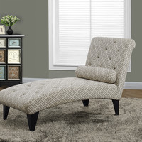"""Sandstone/Grey """"Maze"""" Fabric Chaise Lounger"""