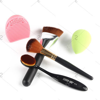 Cosmetic 5 Pcs/Set Blush Brush + Foundation Brush + Flat Contour Brush + Beauty Blender + Brush Egg