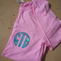 Monogrammed Long Sleeve Pocket with Lilly Fabric