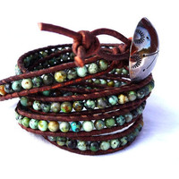 April Giveaway African Turquoise Leather wrap by Lobsterpirate