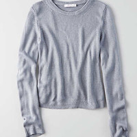 Don't Ask Why Cropped Lightweight Sweater, Blue