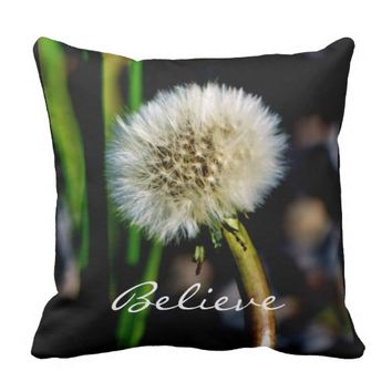 Believe, Make a Wish Square Throw Pillow
