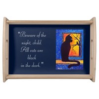 Black Cat Quote with Owl Serving Tray