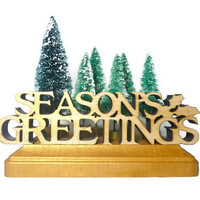 Seasons Greetings Holiday Decor, Christmas Scene with Bottle Brush Trees and Laser Cut Letters