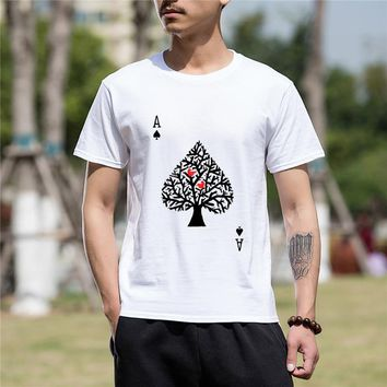 Men Clothing Fashion Short Sleeve Tshirt Hip Hop Ace Spade Poker Funny Printed Motorcycle Cotton Funny T Shirt Men