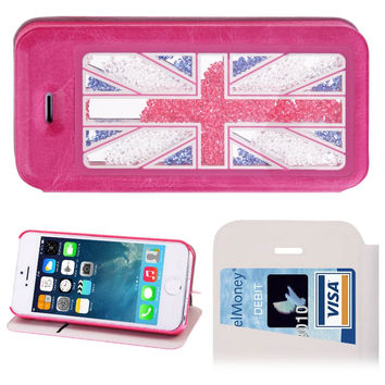 UK Flag Pattern Crystal Sand Diamond Leather Case with Credit Card Slot & Holder for iPhone 5 & 5s & SE & SE