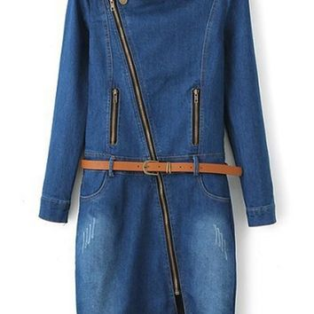 Streetstyle  Casual Blue Plain Zipper Above Knee Skinny Denim Dress