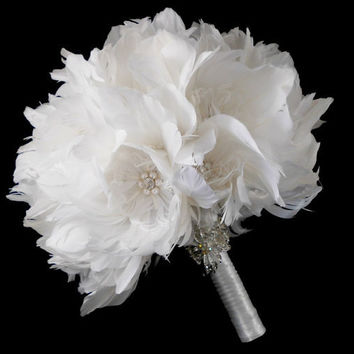 Wedding Bouquet, Bridal Bouquet, Feather Bouquet, Brooch Bouquet, Peony Bouquet, White, Rhinestone, Pearl, Elegant Bouquet