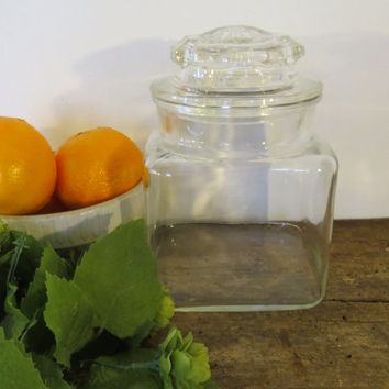 Vintage Clear Glass Canister Cookie Candy Apothecary Jar