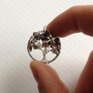 Smoky Quartz Tree of Life Pendant, Nickel Free Wire Twisted Tree Pendant