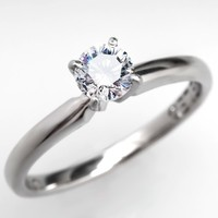 Excellent Cut IGI Certified Leo Diamond Solitaire Engagement Ring 14K White Gold & Platinum