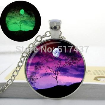 Glowing Winter Tree Necklace Branch Pendant