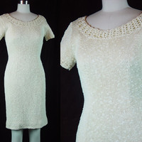 60s Handknit Cream Nubby Knit Dress Vintage 1960s Ivory Scoop Neck Body Hugging Hourglass Bombshell XS S