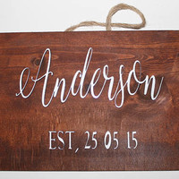 Family Name Sign | 3D | Wedding Established Sign | Wedding Last Name Sign | Wedding Family Name Sign | Wedding Name Sign | EST Sign Wooden