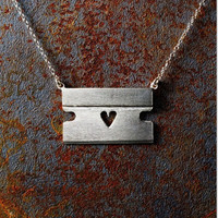 "Razor Blade Necklace with Heart and 18"" Chain"