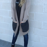 Beige Pocket Contrast Cardigan
