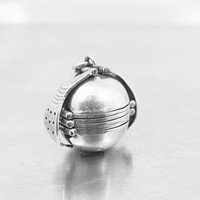 Sterling Silver Ball Locket Pendant, Multi Photo Picture Locket, Round Sphere Globe Six Picture Accordion Fold Out