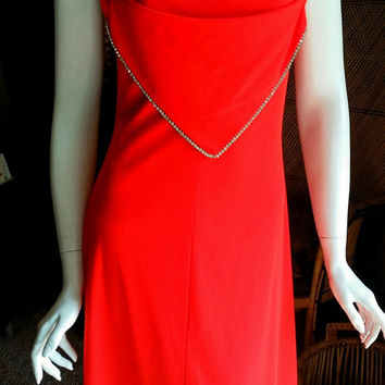 70's Red Orange Rhinestone Handkerchief Dress with Crisscross Back, Disco Diva Dress, Vintage Prom Dress, Sexy Red Dress, Size MD