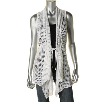 Hooked Up by IOT Womens Juniors Crochet Shawl Collar Cardigan Sweater