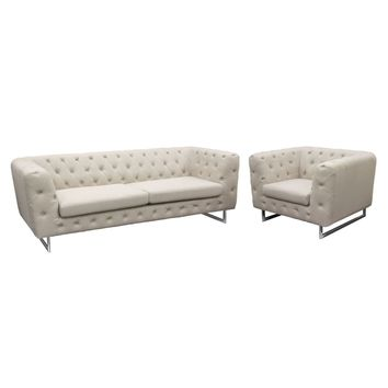 Catalina Tufted Sofa & Chair 2PC Set with Metal Leg in Sand Fabric