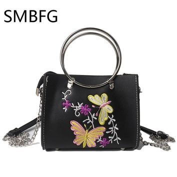 small women leather flap handbag with embroidery floral for girl crossbody bags totes with Chains fashion new arrival 2017