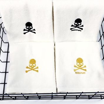 Gothic Skull & Crossbone Embroidered Hand Towels