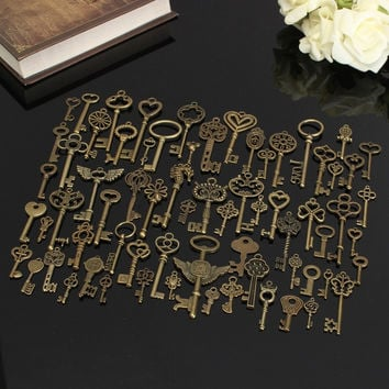 Set of 69 Antique Vintage Old Look Bronze Skeleton Keys Fancy Heart Bow Necklace Pendant = 1932361092