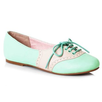 Bettie Page Halle Shoes - Mint/Cream