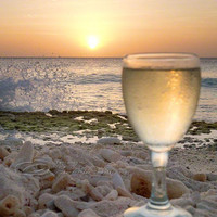 Beach Photo Ocean Wine Sunset Home Decor Print 8x10"