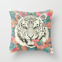 Trippy Tiger Throw Pillow by Pink Berry Patterns