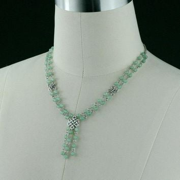 Jade lariat beaded irish knot necklace Bridesmaids gifts Free US Shipping handmade Anni Designs