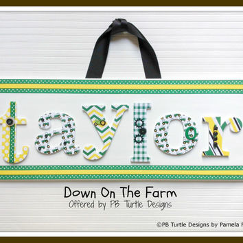 Farm Themed custom, personalized name plaque letter sign, made to order, children's nursery art and decor, boy or girls name, door sign