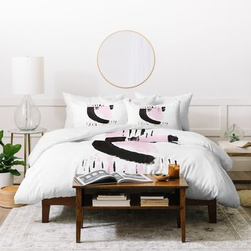 Viviana Gonzalez Minimal black and pink I Duvet Cover | Deny Designs