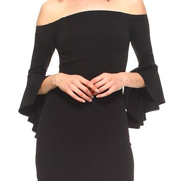 Teeze Me | Quarter Sleeve Off-The-Shoulder Dress | Black