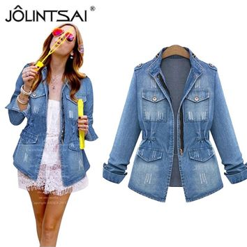 Plus Size S-5XL Bomber Jacket Jaqueta Feminina 2017 Spring Vintage Fashion Denim Jacket Women Washes Coat Women Chaquetas Mujer