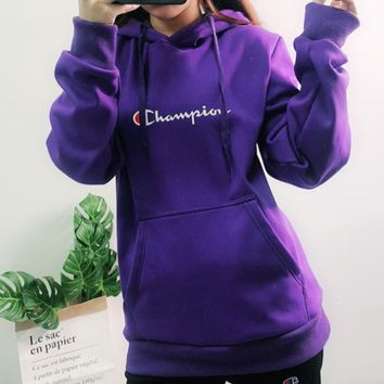 Champion 2019 new embroidered letters stringed arm letters women's hoodie Purple