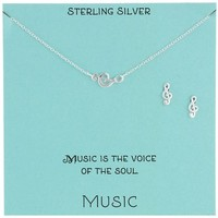 Sterling Silver Treble Clef Necklace and Earrings Jewelry Set, 18""