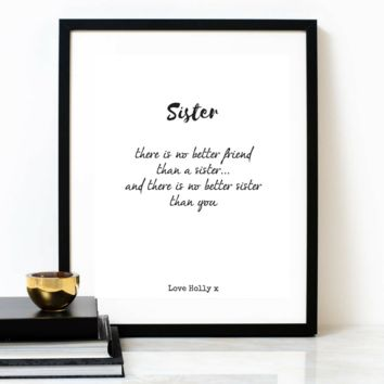 'For My Sister', Personalised Poem Print