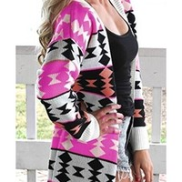 Pink Fuchsia Black Coral Aztec Tribal Long Sleeve Open Cardigan Knit Sweater NWT