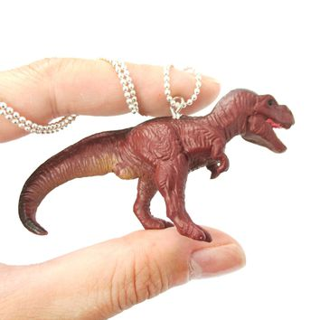 Tyrannosaurus Rex Dinosaur Shaped Figurine Pendant Necklace in Brown | Animal Jewelry