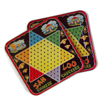 Vintage Chinese Checkers Board, 1950s, Tin Metal, San Loo, Set of Two Matching, Home Decor, Vintage Game