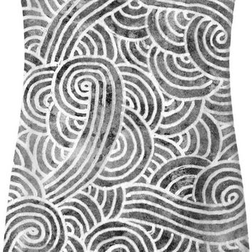 Grey and white swirls doodles Simple Dress