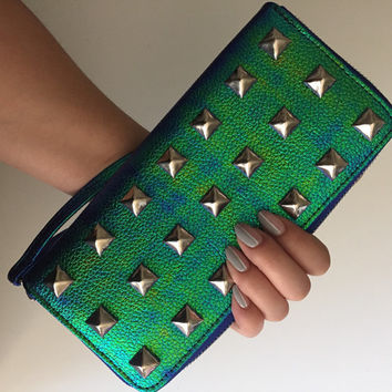 Studded Wallet Clutch - Metallic Holographic Iridescent Green & Blue - Large Silver Studs