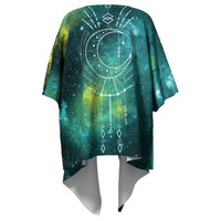 Boho Kimono / Celestial Draped Moon Phase Sacred Geometry Shamanic New Age Blue Green Mandala Gradient Robe festival wear / Bohemian New Age
