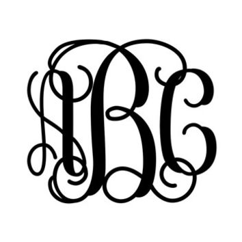 Monogram Decal with Vine Font - Multiple Colors & Sizes