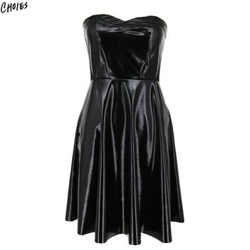 Black Leather Strapless Mini Skater Dress Women Sleeveless Backless High Waist Semi Sheer Zipper Back Sexy Vintage Dresses