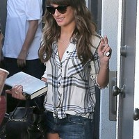 Rails Hunter Buttondown in White and Cobalt as Seen On Lea Michele