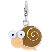 Sterling Silver Enameled 3-D Snail w/Lobster Claw Clasp