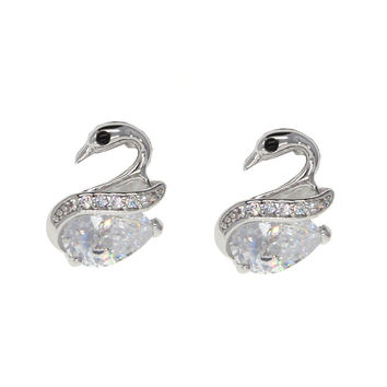 Dear Deer White Gold Plated Swan CZ Stud Earrings